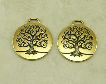 2 Large TierraCast Spiral Tree of Life Pendant Charms > Bodhi Tree - 22kt Gold Plated Lead Free Pewter - I ship Internationally 2304