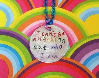 Lyric Necklace - Gay Pride - Equality - Blue October Necklace - Rainbow - Stamped Necklace