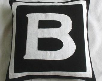 Black monogram pillow. Initial pillow cover. Alphabet throw pillow cover. 18 inch custom made - personalized pillow cover.