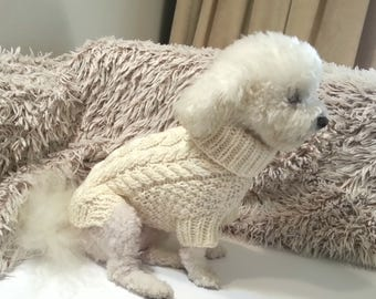 Fisherman's Dog Sweater \\ Cable knit dog sweater \\ Pet Clothing - Small Dogs Clothes \\ Handmade clothes for dogs - BubaDog