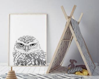 Owl Print, Woodlands Nursery Wall Art, nursery print, woodland Animal, Gender Neutral, Kids Room decor, Digital Download, cozy cloud co