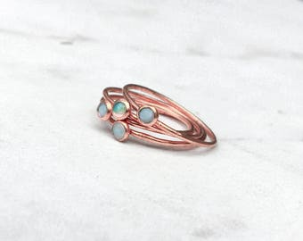 Opal Stacking Ring, Rose Gold Tiny Opal Ring, Minimalist Ring, Dainty Ring, Stackable Ring, October Birthstone, Raw Opal Ring, Fire Opal