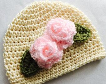 92f745d0b60 ... beanie from betsyjoga crochet baby hat with roses cream crochet baby hat  newborn hat baby hat