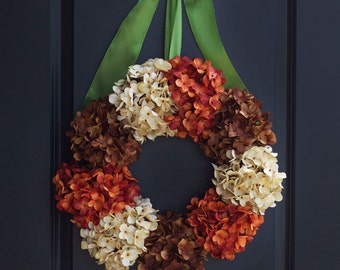 Fall Hydrangea Wreaths -Fall Wreaths - Fall Hydrangea Wreaths for Front Door - Outdoor Fall Wreaths -Autumn Wreaths - Outdoor Autumn Wreaths