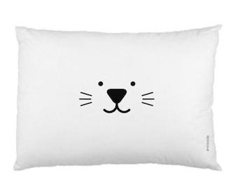 White Minimalist Pillowcase / Kids Pillow / Animal / Cat / Bunny Pillow / Modern Children Bedding / Monochrome Nursery / Scandinavian Style