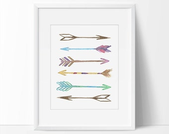 Arrow Print, Arrow Art Print, Arrows Printable, Tribal, Colorful Arrows, Tribal Arrows, Printable Arrows, Colorful Arrows, 5 x 7, 8 x 10.