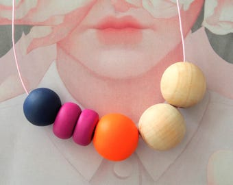 OOAK Handmade Polymer Clay Necklace - Six Bead Woody - Belgium Collection