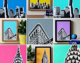 New York Screenprints, NYC Print, Chrysler Building, Flatiron, USA, Architecture, A4 Screenprint, Home Decor, Art Print, Silkscreen, Pop Art