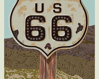 Claremont, California - Route 66 - Letterpress (Art Prints available in multiple sizes)