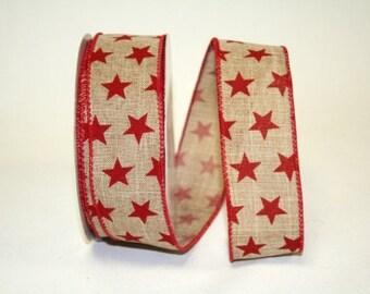"1.5"" x 20 yds STAR PRIDE Linen Wired Edge Ribbon/Patriotic Decor / 92210-1"