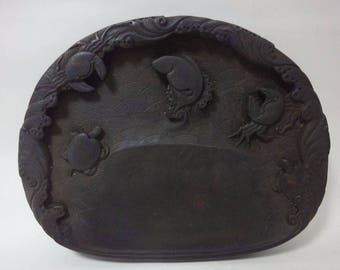 Rare Old Chinese Hand Carved Ink Stone Ink Slab with Bottom Mark