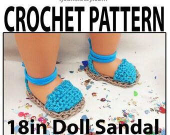 18in Crochet Doll Espadrille Sandal Pattern