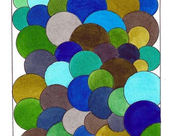 """Original Mid Century Atomic Style Ink and Watercolor Art - Balls and Spheres - Blue/Turquoise/Green/Brown 6"""" x 9"""""""