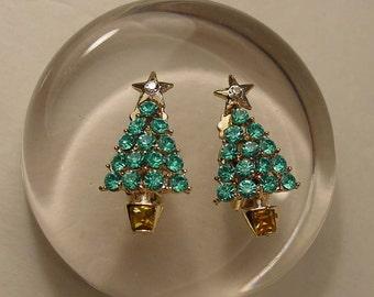 Vintage Turquoise and Citrine Crystal Rhinestone Christmas Tree Clip On Earrings