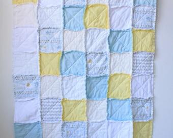 Blue yellow rag quilt - Baby boy rag quilt - Blue rag quilt - Crib rag quilt