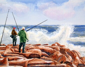 Jetty Fisherman, seascape, fishing, ocean, 13x19 fine art Giclee print made from original watercolor painting, unmatted
