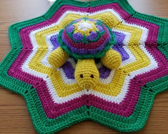 Crocheted-Lovey-amigurumi-Turtle-security-baby-blanket-baby shower gift.