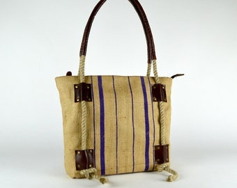 Jute Rope bag ~ Leather Tote ~ Leather Handbag  ~ Canvas Tote ~ Organic Tote ~ Rustic Tote ~ Travel Tote ~ Jute/ Burlap tote ~ Ready to ship