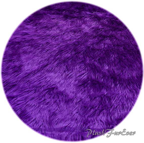 Royal Purple Shaggy Plush Faux Fur Nursery Area Round Rugs