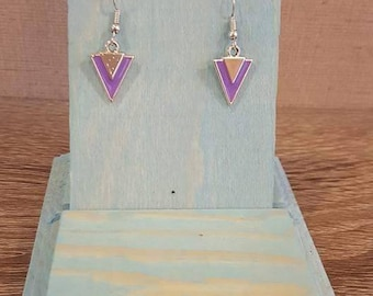 Purple and silver triangle earrings