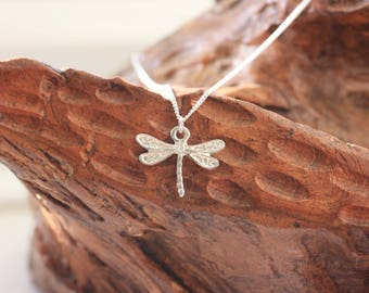 Silver Dragonfly Pendant Necklace, sterling silver