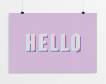 HELLO Typography - a design print // 8.5x11 or 13x19 // 5 color options // Scandinavian modern nursery