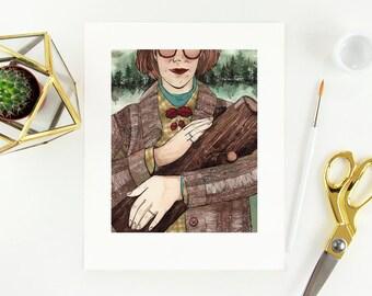 "8"" × 10"" Log Lady Twin Peaks Fine Art Paper Giclee Print"