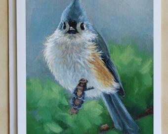 Tufted Titmouse - bird painting - notecard - greeting cards - notecard set - five notecard set