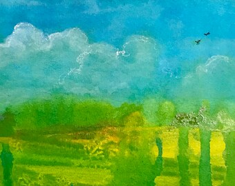 Green and Golden field  painting on paper matted to an 11 x 14