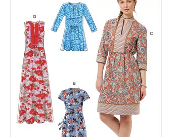McCall's Sewing Pattern M7597 Misses' Loose-Fitting Pullover Tunic and Dresses with Front Bib, Gathers and Back Yoke