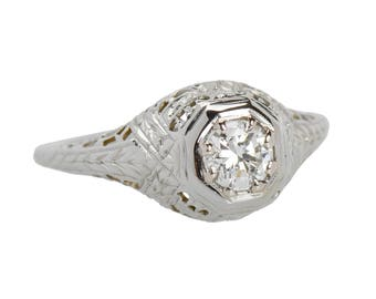 Art Deco Style Filigree Brilliant Diamond Engagement Ring 18k White Gold Conflict Free Eco Friendly What Sheaf Pattern || 19015