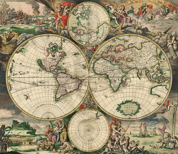 Old world map 17th century download scan of an old original map old world map 17th century download scan of an old original map of the world instant download high resolution jpg from instantprintable on etsy studio gumiabroncs Image collections