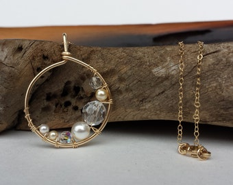 Golden Swarovski Crystal and Pearl Pendant