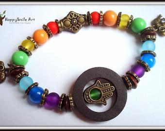 7 Chakra bracelet Elephant Chakra Bracelet Yoga bracelet Bronze Jewelry Bohemian Bracelet Buddhist Meditation bracelet Chakra jewelry