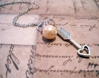 Arrow Necklace Heart Arrow Charm Necklace with Glass Pearl Dangle 18 Inch Necklace Chain