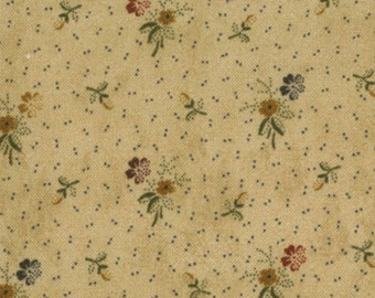 moda fabric by 1/2 yard Kansas Troubles Quilters FAVORITES - tiny flowers on BUTTER tan  9165-11