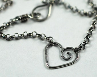 Heart Necklace Sterling Silver Oxidized, Silver Layering Necklace, Made to Order, Handmade Necklace, Bridesmaid Gift, Valentine Necklace