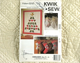 CRAFT PATTERN, Christmas Decor Advent Calendar, Kwik Sew 2212, Wall Quilt, Angel, Stockings in 5 Sizes, 1992 Uncut