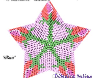 Beading Pattern/Tutorial Valentine ROSES 3D PEYOTE STAR + Basic Instructions