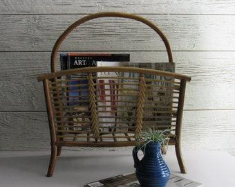 Vintage Bamboo magazine rack – All Bamboo - mid century - rattan basket – mcm décor