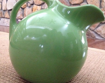 Antique vintage Hall Ball Water Jug Pitcher Green