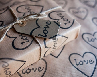 Love Heart Wrapping Paper: Including 1 Piece Gift Wrap, 2 x Gift Tags & Twine.