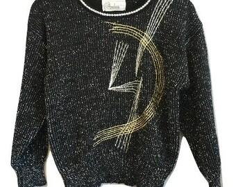 Vintage 80s Abstract Metallic Sweater