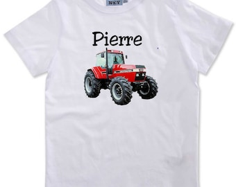 T-shirt boy Red Tractor personalized with name