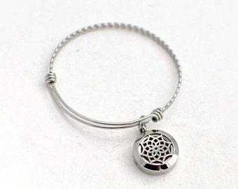 Lotus Flower Stainless Steel Aromatherapy Bracelet - Essential Oil Diffuser Bracelet - Aromatherapy Pendant - Essential Oil Bracelet