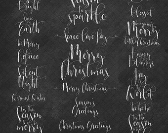 Christmas greetings chalkboard clip art word art photo overlays - chalk pattern holidays new years clipart for scrapbooking, cards