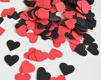 Heart Confetti - Black and Red Hearts - Wedding Decor - Paper Confetti Hearts - Mini Hearts Table Scatter - Party Confetti 100 Pc