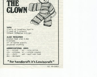 Children's Toy Pierrot Clown Crochet Pattern Book (Lewiscraft; Toronto; Very Good; USED)