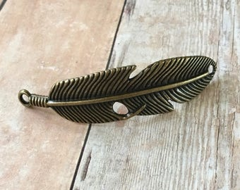 Feather Bracelet Connector Bronze Antiqued Gold Curved Pewter