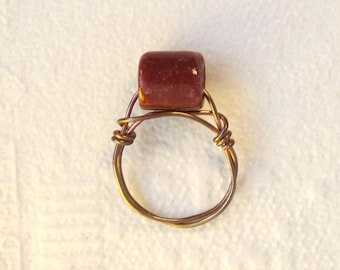 Red Bead Copper Wire Ring
